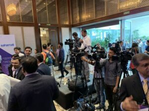 TV Media covering Account Aggregator Closed User Group Event in Mumbai on July 25, 2019