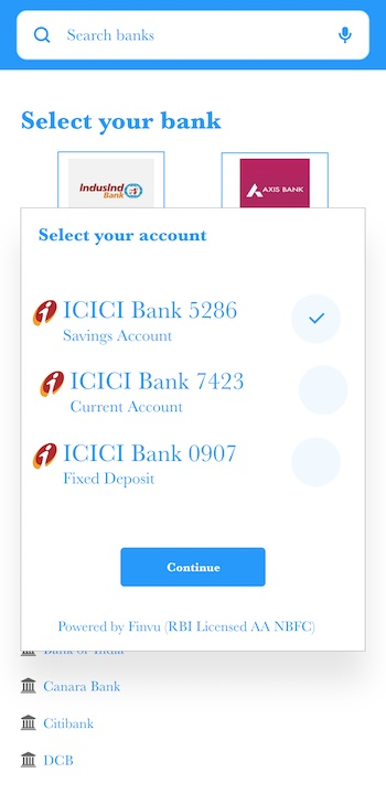 Select FIP bank accounts in CleanLend FIU app